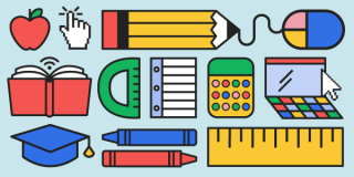 An illustration featuring back-to-school items like pencils, crayons, apples, and rulers