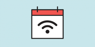 Illustration of a calendar with a WiFi symbol on it