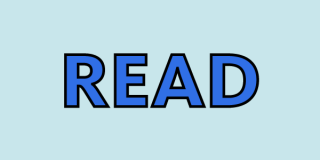 Blue rectangle with blue letters that read: Read