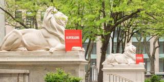 Sculptures of NYPL lions reading red books