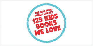 White rectangle with a blue circle outlined in the middle around red text that reads: The New York Public Library 125 Kids Books We Love