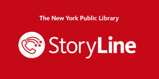 Red rectangle with a white icon with an illustration of a phone with a rainbow next to white text that reads: The New York Public Library Story Line