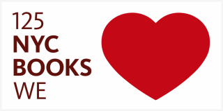 White rectangle with burgundy text that reads 125 NYC Books We and an image of a red heart