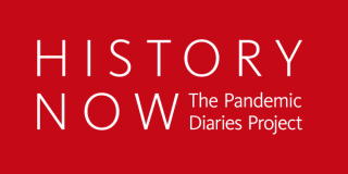 Red rectangle with text that reads: History Now: The Pandemic Diaries Project
