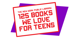 Graphic with retro-style font over a decorative purple rhombus and red text that reads: The New York Public Library 125 Books We Love for Teens