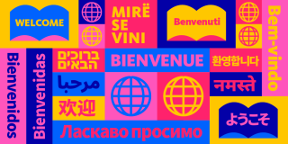 Colorful graphic featuring icons of books and globes with text in numerous languages that reads: Welcome