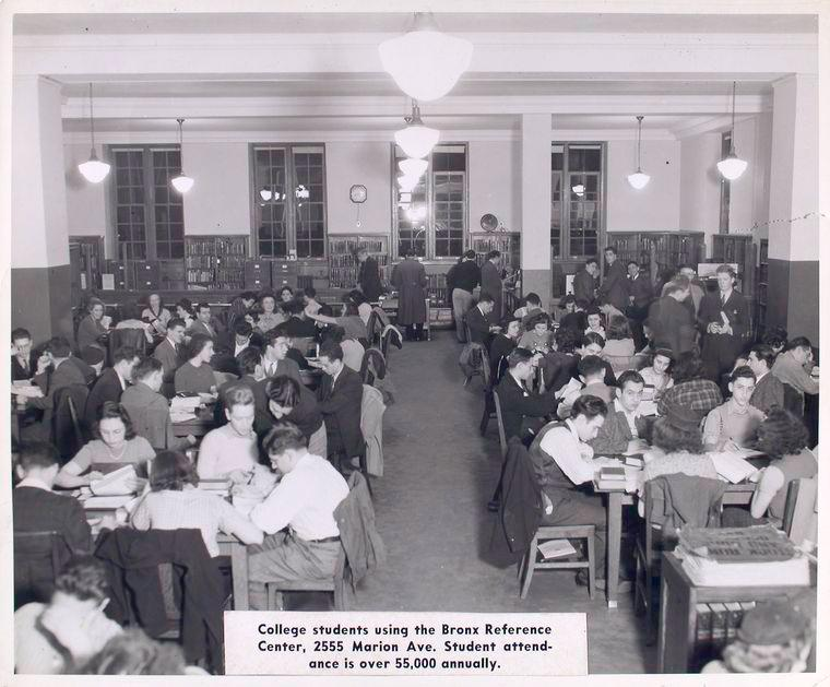 Black and white photograph of a library room packed with young adults. A caption notes: Student attendance is over 50,000 annually.
